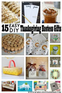 Looking for an easy gift for your Thanksgiving hostess? Check out this collection of 15 easy DIY gift ideas at Sparkles of Sunshine. Easy Diy Gifts, Homemade Gifts, Thanksgiving Diy, Thanksgiving Hostess Gifts, Thanksgiving Decorations, Diy Craft Projects, Diy Crafts, Craft Party, Sparkles