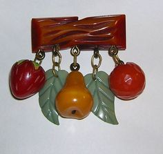 Vintage Bakelite Mixed Fruit Dangle Brooch, c. 1940s.