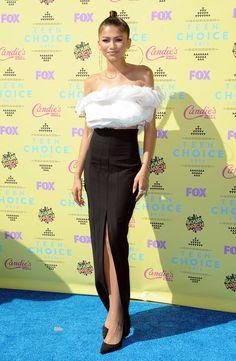 0bc1dc7309a9c6 Zendaya walked the teal carpet at the 2015 Teen Choice Awards in an Ashi  Studio ensemble.