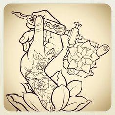 tattoo sketch : hand with tattoo gun machine and rose
