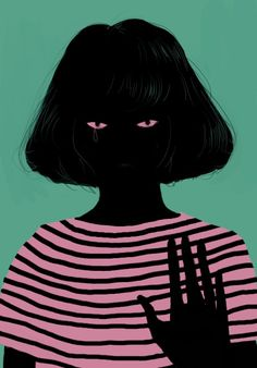 // Graphic Design / illustration #woman #silhouette #black #crying #tear #line #shirt #green