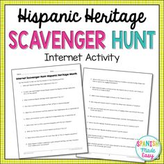 This is an internet scavenger hunt over Hispanic heritage. This activity includes 20 questions related to Hispanic history, holidays, and people of influence. All the answers may be easy found online.
