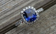 2.29ct Sapphire and diamond engagement ring.   I am pretty sure I am in love with this ring.