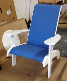 Marine Grade Polymer sling reclining adirondack with the fabric C172 Cobalt.