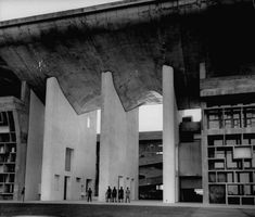 Entrance to Punjab High Court building, designed by Le Corbusier, in the new capital city of Punjab.