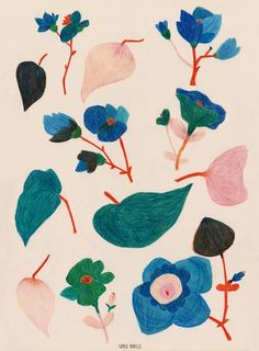 illustration – Browse products sold by Sophie Morille in our Tictail shop. Tictail lets you cr… Art And Illustration, Illustration Inspiration, Floral Illustrations, Graphic Design Illustration, Textures Patterns, Print Patterns, Guache, Art Textile, Motif Floral