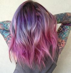 Prettiest Pastel Purple Hair Ideas Medium Length Purple To Pink Ombre HairMedium Length Purple To Pink Ombre Hair Blond Ombre, Brown Ombre Hair, Ombre Hair Color, Violet Ombre, Purple Ombre, Pastel Purple Hair, Pink Hair, Gradient Hair, Bleaching Your Hair