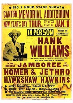 'Hank Williams In The Biggest Jamboree Of 1953' - Wonderful A4 Glossy Print taken from a Vintage Country Music Poster by Unknown http://www.amazon.co.uk/dp/B00H77GGGG/ref=cm_sw_r_pi_dp_F8Xmvb17ZF9S3