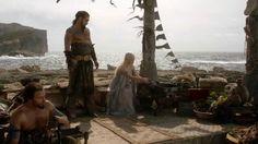 Bunting at the Dothraki Wedding. Clay pots. Wooden chests.
