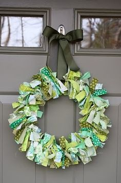 st pattys day wreath, or any spring colors would do.  scrap fabric, ribbon and wire coat hanger or wreath form