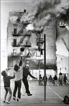 Mid Seventies, Da Bronx. Fires were so common place, kids didn't even watch anymore.