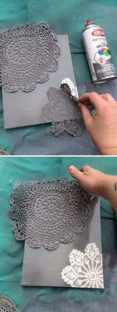 DIY Spray Painted Doily Canvas.