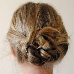 Braid pigtails going away from face. Tie in knot.  Bobby pin!  I did this and I luuuuurve it.