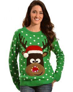 Lisa International Reindeer with Santa Hat Light Up Christmas Sweater