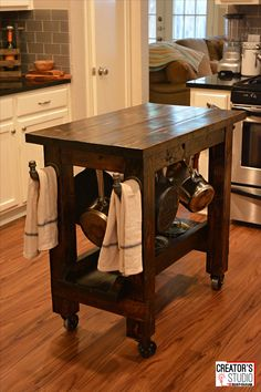 DIY Kitchen Island Cart: Did you know you can easily build a kitchen island cart for a fraction of the price of buying one from a home store? Here's how to make it--it's easier than you think! | From @shanty2chic and the Rust-Oleum Creator's Studio - CreatorsStudio.com