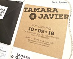 Invitación BODA Journal. En blanco y negro, invitaciones minimalistas. Papel kraft, sobre negro, cuerda baker twine blanco y negro. | Wedding invitations