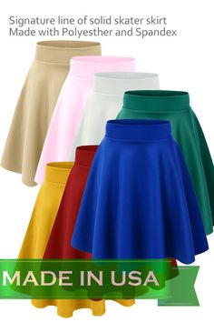 Women's Versatile Stretchy Plain Casual Mini Flared Skater Skirt #CustomMade #FlaredSkaterSkirtVS109