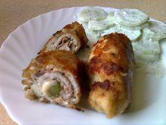 Roladki z kurczaka z szynką, serem i ogórkiem