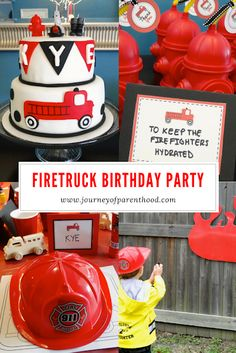 Firetruck Birthday Decor: food, activities, and decorations for a fire truck themed party! Firefighter Birthday, Firefighter Decor, Volunteer Firefighter, Party Time, Party Party, Party Ideas, Fireman Party, Fireman Sam, Birthday Party Themes