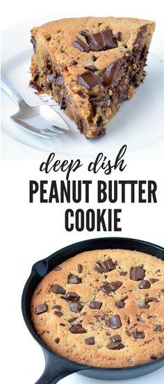 Dark Chocolate Chunk Peanut Butter Skillet Cookie