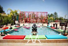 Pithi (Haldi) Ceremony, Ganesha Pooja, and Mehndi Party Mehendi Decor Ideas, Mehndi Decor, Pool Wedding Decorations, Outdoor Indian Wedding, Moroccan Wedding, Haldi Ceremony, Swimming Pools, Backyard, Dream Wedding