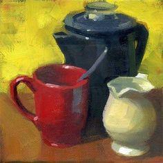 """""""Red mug"""" - Original Fine Art for Sale - © Kathy Weber:"""