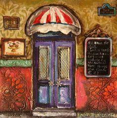Purple door! Karien Boonzaaier South Africa South African Art, Purple Door, House Art, Store Fronts, Art Boards, Gates, Decoupage, Stairs, Windows