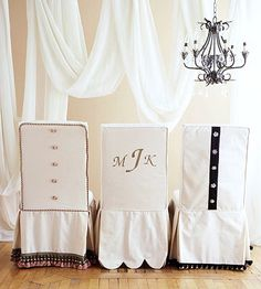 Slipcovers dress up dining room chairs, and can be changed out for different occasions and seasons.