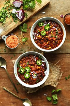 1-POT, AMAZING Lentil and Black Bean Chili! Smoky, hearty, PROTEIN and fiber packed! #vegan #glutenfree #lentils #chili #healthy #recipe #minimalistbaker
