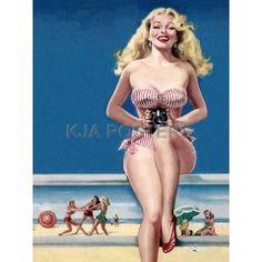 Pin Up Art Blonde In Striped Bikini At The