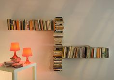 Shelving : Unique Design DIY Book Shelves Floating On The Wall With Small Square Table With Glass Lamp Easy Steps for DIY Wall Shelves Diy Bookshelf. How To Build A Bookcase. Floating Shelves.