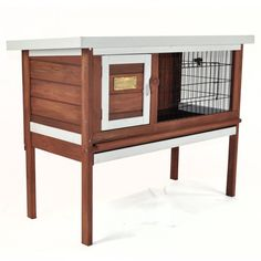 Advantek The Penthouse Rabbit Hutch is a single storey animal housing structure that is ideal to house your pet rabbits. This animal shelter is spacious, giving your pets plenty of breathing room and walking space. <br/>The Penthouse Rabbit Hutch by Advantek is made of insect- and rot-resistant Fir wood to offer durability and sturdiness. It also features an Auburn finish with white trim that adds to the modish design of this animal shelter. This 1-storey rabbit hutch has a...