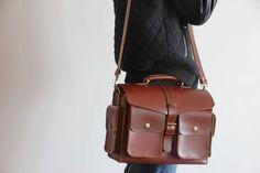 Vintage Handmade Artisan Genuine Leather Tote Briefcase Messenger Bag / Case