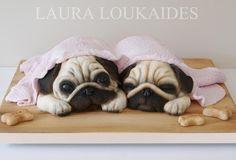 Agnes & Ethel - The Sleepy Pugs - Cake by Laura Loukaides