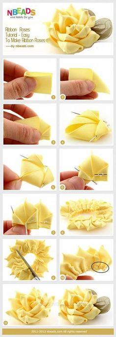 Flores de raso Ribbon Art, Diy Ribbon, Ribbon Crafts, Fabric Ribbon, Flower Crafts, Ribbon Rose, Paper Ribbon, Tissue Paper, Tutorial Rosa