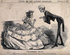"""A cartoon from Punch entitled """"The Arsenic Waltz"""" and subtitled """"The New Dance of Death: (Dedicated to the Green Wreath and Dress Mongers),"""" shows an elegantly attired male skeleton asking a lady skeleton to dance. He courteously extends his bony fingers toward her, while bending deferentially to her at the knee.- from """"Fashion Victims  #fashionvictims #halloween #arsenic #macabre #victorian #skeleton #dressedtokill"""