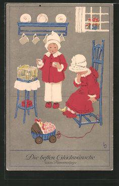 carte postale ancienne: CPA Illustrateur Lia Döring: Glückwünsche zum Namenstag, des enfants beim Spiel avec einem Vogel