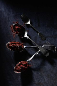 Cocoa powder and spoons