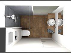 (De Eerste Kamer) Een kleine badkamer die ruimtelijk oogt. Deze badkamer heeft een afmeting van 220 cm x 160 cm. In de kleine badkamer is bovendien een raam aanwezig op de achterwand waar tijdens het ontwerpen rekening mee moest worden gehouden. In de douche is een glazen douchewand aangebracht om de ruimte af te schermen. Glas zorgt voor rust in de badkamer en houdt de ruimte optisch groot. Sfeer is aangebracht met vloertegels die voorzien zijn van een mooie houtstructuur. Hetzelfde houten…