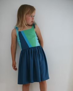 Petrol&mint -  colourblock dress for girls - sewing summerdress