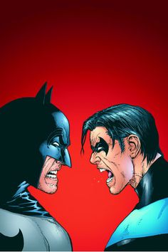 "Batman and Nightwing. ""Father"" and ""oldest son"" having it out."