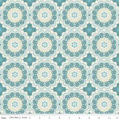 """Riley Blake Designs  Flutter Doily Blue - By The Quilted Fish  - 100% cotton, 43/44"""""""