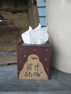 Primitive Let it Snow Snowman Tissue Box Cover