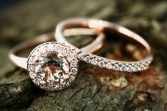Ena 6mm & Sally Round Cut Morganite 14k Rose Gold Halo Engagement Ring Half Eternity Matching Band Promise Ring Set Anniversary Ring Set by loveforeverjewelrysv on Etsy