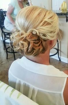 Curly low romantic updo #phairisbridal Hair by Rebecca Mousseau