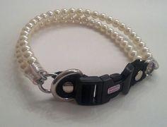Double Pearl Dog CollarCat collar Buckle Collars by BeadieBabiez