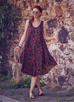 Discover recipes, home ideas, style inspiration and other ideas to try. Boho Summer Dresses, Boho Dress, Casual Dresses, Ethnic Dress, Women's Summer Fashion, Boho Fashion, Moda Emo, Hippie Outfits, Women's Fashion Dresses