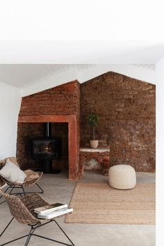 Cucumbi: A Rustic Guest House in Portugal Suited for Autumn - Remodelista Decor Style Home Decor Style Decor Tips Maintenance home White Walls, Guest House, Lounge Areas, House, Holiday Home, Home, Interior, Exposed Brick Walls, Home Decor