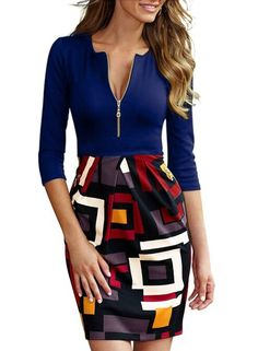2015 new women pencil dress office lady work dress high-quality geometric mixed colors patchwork slim package hip dresses