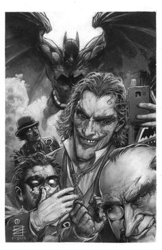 Joker's Self Shot : by Eddy Newell. Joker and Social Media. Even Joker needs to post. Comic Book Heroes, Comic Books Art, Comic Art, Book Art, Joker Art, Batman Art, Superman, Dc Comics Art, Marvel Dc Comics